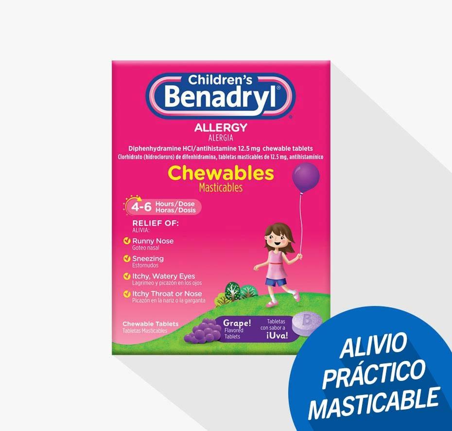 Children's BENADRYL® Grape Flavored Chewable - Pastillas masticables sabor a uva, niños