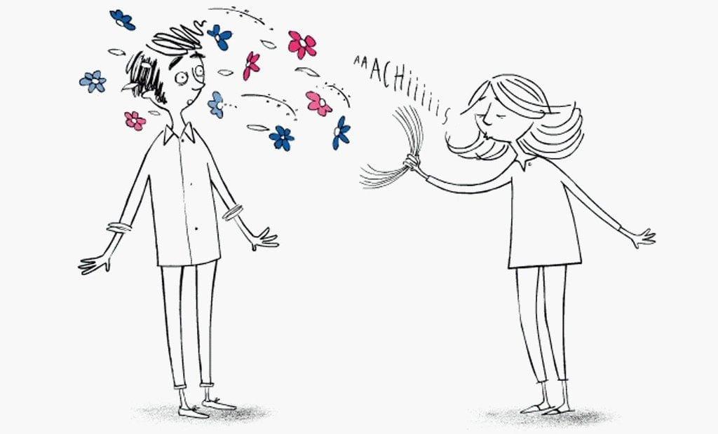 Caricatura de una niña que estornuda sobre un niño